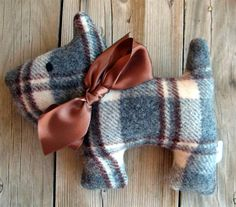Woodley Upcycled Plush Scotty Dog by leahkl on Etsy Scottish Terrier, Sewing Crafts, Sewing Projects, Old Sweater, Operation Christmas Child, Felt Animals, Sewing For Kids, Stuffed Toys Patterns, Toys For Girls
