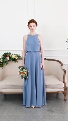 Long Chiffon Bridesmaid Dress with Bateau Neck in dusty blue wedding color ideas with bridesmaid dresses 2020 inspo videos elegant Blue Chiffon Dresses, Dusty Blue Bridesmaid Dresses, Bridesmaid Dress Styles, Chiffon Dress Bridesmaid, Red Chiffon, Classy Dress, Classy Outfits, Elegant Dresses, Fashion Outfits