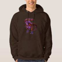 COLORFUL T REX CHOCOLATE MENS HOODIE - WOW