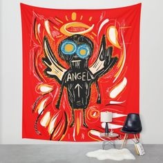 Angel by Emmanuel Signorino #art #basquiat #picasso #artbrut #society6 #decoration #homedecoration #red #fashion  www.emmanuelsignorino.com