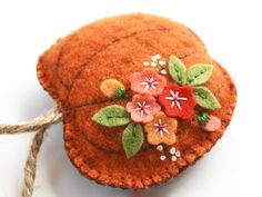 Orange felt pumpkin ornaments hand dyed wool felt with