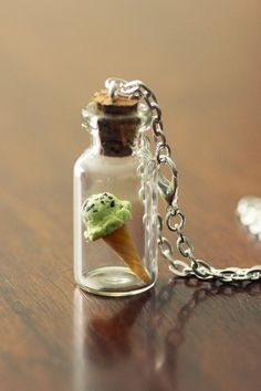 Choc Mint Ice Cream Necklace. Miniature Food Jewellery Jewelry. by KitschyKooDesign on Etsy