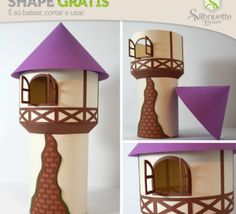FREE DIY 3D cut file » Shape 34: Torre da Rapunzel - from Silhouette Brasil ---rapunzels tower lantern luminary decoration table box gift treat favour party fairytale princess girl (possibly make a castle tower or lighthouse)
