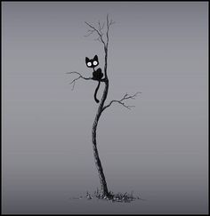 The cat in the tree by Stuffed Kitty on deviantart. Art of the cat illustration. Foto Fantasy, Fantasy Witch, Image Chat, Black Tree, In The Tree, Cat Drawing, Crazy Cats, Cat Art, Cats And Kittens