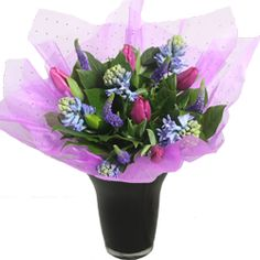 This delightful bouquet created by our skilled florists includes various purple and mauve blooms. £25