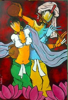 radha krishna - Creative Art in Painting by Hutansh Artist in Portfolio my paintings at Touchtalent