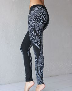Owl Print graphic leggings for street hot yoga, Bikram yoga,  in sustainable Modal with Lycra stretch.