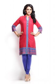 A red coloured kurta for women from Sabhyata. Made from cotton, this knee-length kurta features full sleeves , regular fit and this kurta having chinese collar with block print on front. Team it with royal blue legging for a sensuous look. - See more at: http://shopsabhyata.com/product/red-chinese-collar-kurta/#sthash.eElRY6m9.dpuf