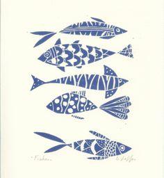 Fishes Linocut - Original Print - Blue Art, Hand Pulled Print. £18.00, via Etsy. Bluebird Gallery
