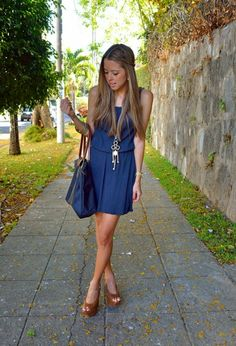 OCEAN BLUE DRESS , Lefties in Dresses, H&M in Jewelry, Longchamp in Bags