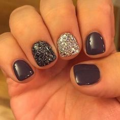 "If you're unfamiliar with nail trends and you hear the words ""coffin nails,"" what comes to mind? It's not nails with coffins drawn on them. Although, that would be a cute look for Halloween. It's long nails with a square tip, and the look has. Get Nails, Fancy Nails, Pretty Nails, Black Sparkle Nails, Glitter Accent Nails, Gel Nail Art, Nail Polish, New Years Eve Nails, Short Gel Nails"