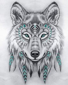 Wolf Tattoos 30987 tribal wolf drawing in pencils, black and white drawing model with touches of blue, Native American symbol Wolf Tattoo Design, Tattoo Designs, Tattoo Wolf, Design Tattoos, Wolf And Moon Tattoo, Tribal Wolf Tattoo, Tattoo Feather, Wolf Design, Tattoo Ideas