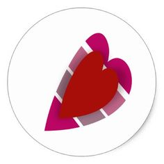 Romantic Pink and Red Stylized Striped Heart Classic Round Sticker - valentines day gifts diy couples special day