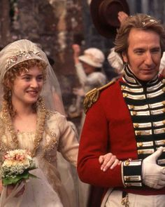 """SENSE AND SENSIBILITY"" WEDDING DRESS For the 1995 film adaptation of the Jane Austen novel, costume designer Jenny Beavan based Marianne Dashwood (Kate Winslet)'s stunning cream wedding dress with straw-worked collar and trim on the styles of the Movie Wedding Dresses, Wedding Dress Costume, Cream Wedding Dresses, Wedding Movies, Wedding Scene, Jane Austen Movies, Best Costume Design, Emma Thompson, Alan Rickman"