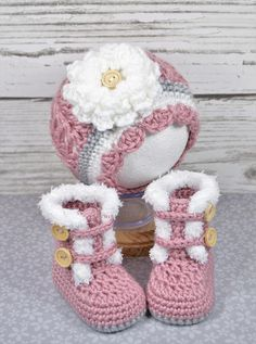 Description of Listing: Adorable crochet fur-trimmed boots and matching hat with flower are perfect to keep your little one warm! Set shown is made with Red Heart Soft yarn in Rose Blush, Elephant, and White. ***MADE TO ORDER*** SIZES: Available in any of the sizes below. COLORS:
