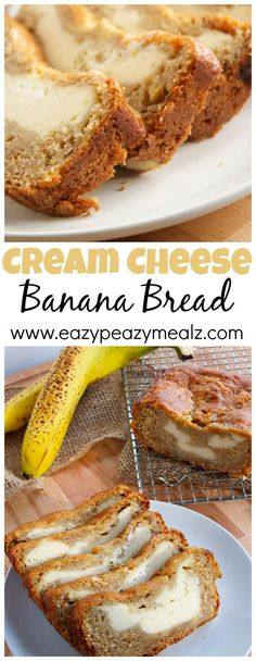 Cream Cheese Banana Bread: This is hands down the best banana bread ever. It is like cheesecake plus banana bread and totally acceptable for breakfast! - Eazy Peazy Mealz