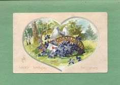 Dove Bird, Birthday Postcards, Heart Illustration, Happy Birthday, Presents, Birds, Gallery, Vintage, Happy Brithday