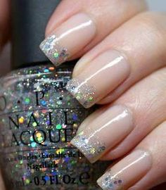 Glitter French Tips... i have that OPI color, must try!