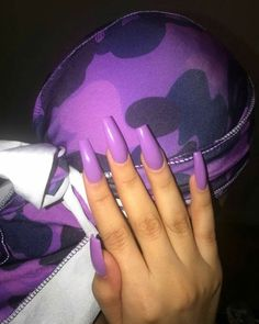 "If you're unfamiliar with nail trends and you hear the words ""coffin nails,"" what comes to mind? It's not nails with coffins drawn on them. It's long nails with a square tip, and the look has. Purple Nails, Black Nails, Purple Acrylic Nails, Cute Nails, Pretty Nails, Hair And Nails, My Nails, Acryl Nails, Gorgeous Nails"