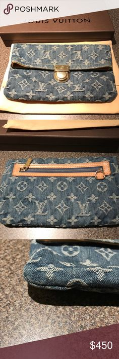 """💯 Authentic Louis Vuitton Denim Limited Edition Louis Vuitton Jean limited edition clutch. This foldable clutch has small stains inside the yellow lining as shown in the pictures.  It does not have any rips or tears. It is in good condition. It also comes with its original box and dust bag. The width is 8.5"""", depth is .5"""" and height is 4.5"""" when closed. When the clutch is open the height is 7.5"""". Louis Vuitton Bags Clutches & Wristlets"""