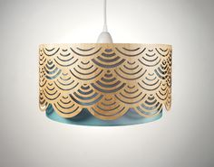 Lampshade made of wood with cut-outs / Etsy. Waves, japanese, cut-outs.