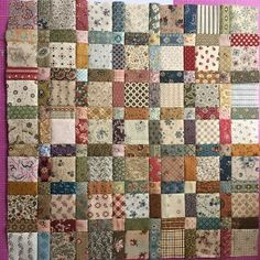 Scrappy quilt squares in 16 patch x bricks or cut bricks to size of 16 patch Colchas Quilt, Doll Quilt, Patch Quilt, Scrappy Quilts, Easy Quilts, Small Quilts, Mini Quilts, Quilt Blocks, Patchwork Quilt Patterns