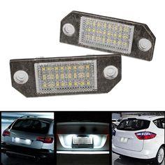 2Pcs 12V White 24 LED Number License Plate Light Lamp for Ford Focus C-MAX MK2 Car Light Source