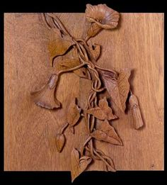 """Morning Glory Vine"" by James Atkin, in Teak Morning Glory Vine, Morning Glory Flowers, Wood Projects, Woodworking Projects, Palette Projects, Whittling Wood, Woodworking Inspiration, Carving Tools, Wood Turning"