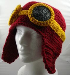 Crocheted Aviator's Helmet in Dark Red with Gold Rimmed Goggles (large)