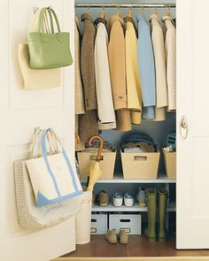Need to do this for the Coat Closet. Bring Order to the Hall Closet Take storage to new levels with shelves below a row of jackets. Install shelves near the base of your closet, and you'll no longer Coat Closet Organization, Organisation Hacks, Closet Storage, Office Organization, Closet Shelves, Low Shelves, Door Storage, Shelving, Storage Hooks