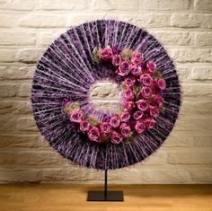 Modern flower arrangement - Lilac circle with pink roses - Stijn Cuvelier …
