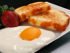 April Fools * Vanilla Yogurt with a peach half and toasted pound cake.