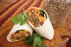 Bacon Lentil Burritos: Lentils are flavour sponges and do such a good job absorbing the bright sunny flavours of the Southwest that no one notices the missing meat in this burrito. Budget Freezer Meals, Frugal Meals, Kids Meals, Family Meals, Group Meals, Easy Meals, Food Network Recipes, Cooking Recipes, Healthy Recipes