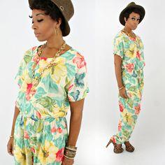vintage 80s oversized tropical SLOUCHY floral HIBISCUS jumpsuit size L/XL by PasseNouveauVintage, $27.00