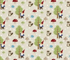 Madison will LOVE this!!   Woodland Friends - Red fabric by inktreepress on Spoonflower - custom fabric
