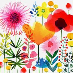 Watercolor Flowers, I think I need this in our living room. ~ Mary Wald's Place - Margaret Berg Art: Meadow+Flowers+Mix
