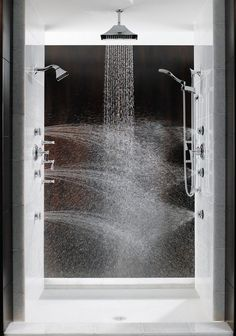 Multiple #Shower Heads: shower with sprays installed at various levels on opposite or adjacent walls. Such placement creates a crisscross water massage between the shoulders and knees. #bathroom