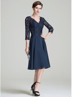 f9a4ee9b25d A-Line Princess V-neck Knee-Length Chiffon Lace Mother of the Bride Dress  (008072689). Mother Of Bride OutfitsMothers ...