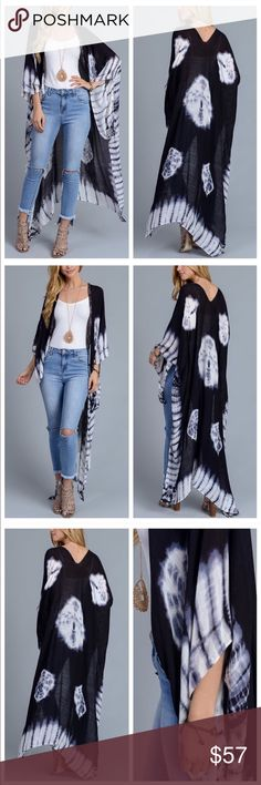 Spring Amazed Kimono New! Tie dyed long kimono. Beautiful and lightweight. Because this is longer, knot up the sides at the bottom if needed. And it looks super cute that way too. Beautiful white with blues and dark navy almost black. October Love Tops