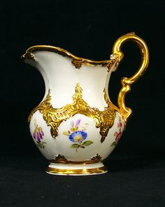 Antique Meissen Hand Painted Gilded Flowers Porcelain Creamer