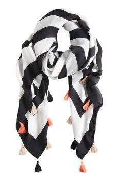 FALL FAR - geometric printed silk georgette scarf with tiny cotton tassels
