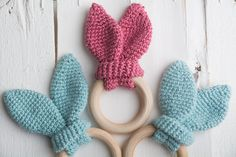 Handmade crochet bunny ears wooden teething ring ,teething toy