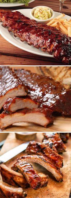 Como preparar Costillas de cerdo al horno en salsa BBQ estilo tony romas Fırın yemekleri Rib Recipes, Mexican Food Recipes, Kitchen Recipes, Cooking Recipes, Pork Brisket, Tasty, Yummy Food, Bbq Ribs, Costillitas Bbq