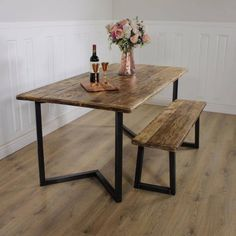 51cee59833518 Industrial Dining Table Rustic solid Kitchen farmhouse Steel ...