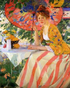 ⊰ Posing with Posies ⊱ paintings of women and flowers - Karl Albert Buehr | Red-Headed Girl with Parasol