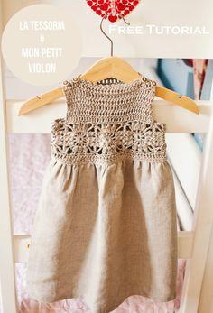 Ravelry: Granny Square Crochet / Fabric Dress pattern by Mon Petit Violon - FREE pattern Crochet Yoke, Crochet Fabric, Crochet Girls, Crochet Baby Clothes, Crochet For Kids, Crochet Toddler, Irish Crochet, Crochet Pillow, Crochet Dresses