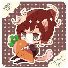 ....Yuma mukami (i love) + Cats (i love) + a plush carrot (kawaii)=.......ADORABLENESS
