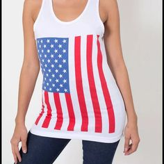 SALE! Patriotic Tank American Apparel Unisex US Flag Print Fine Jersey Tank, Size XS. Brand new with tags. Perfect for 4th of July! American Apparel Tops Tank Tops