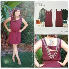 Skies Are Blue Marcella Dress in burgundy with embellished back and neckline.