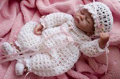 "crochet baby layette patterns free | D6-Sweetheart Romper Layette for 10"" Baby Emmy Doll Pattern Knitted Baby Clothes, Baby Doll Clothes, Crochet Doll Clothes, Baby Dolls, Layette Pattern, Crochet Doll Pattern, Crochet Dolls, Crochet Patterns, Crochet For Kids"
